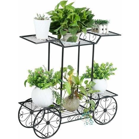 COSTWAY Etagère pour Plantes Support des Plante en Métal pour Jardin à 6 Niveaux 80,5 x 25 x 75CM Style Vintage Noir pour Jardin, Pa