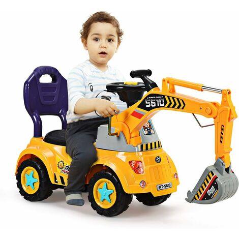 COSTWAY Excavatrice Tracteur Jouet pour Enfant Porteur de Quatre Pneus Convient pour 3-5 Ans