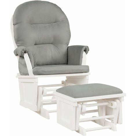 COSTWAY Fauteuil à Bascule avec Repose-Pieds, Rocking Chair en Bois, Coussin Amovible Idéal pour la Sieste, Allaiter, Lire Beige