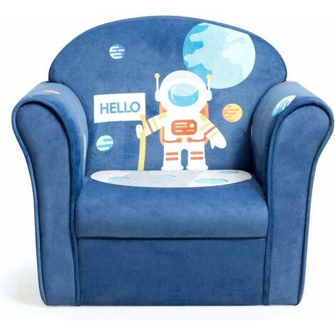COSTWAY Fauteuil pour Enfant, 4 Formes Mignons à Choix, Design Ergonomique, Dossier Rembourré Confortable, Idéal pour la Chambre, Le Salon (Bleu)