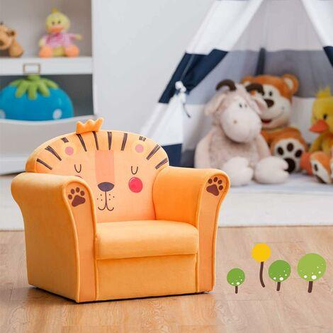 COSTWAY Fauteuil pour Enfant, 4 Formes Mignons à Choix, Design Ergonomique, Dossier Rembourré Confortable, Idéal pour la Chambre, Le Salon (Jaune)