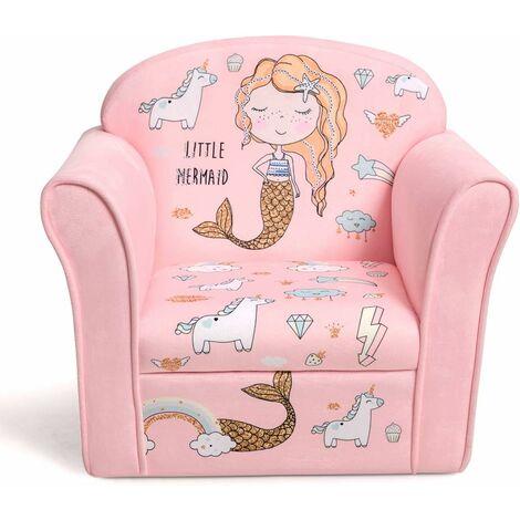 COSTWAY Fauteuil pour Enfant, 4 Formes Mignons à Choix, Design Ergonomique, Dossier Rembourré Confortable, Idéal pour la Chambre, Le Salon (Rose)