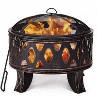 COSTWAY Feuerschale Feuerstelle Feuerkorb Gartenfeuer Terrassenfeuer mit Funkenschutz und Schuerhaken ?71cm