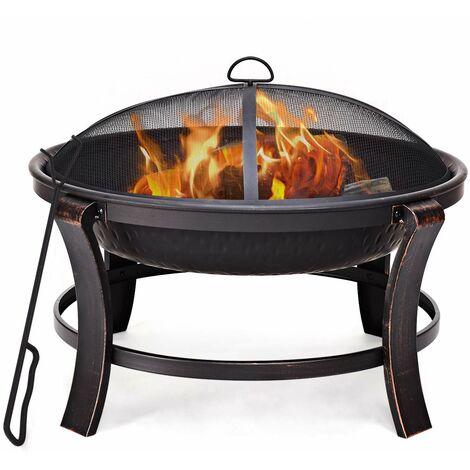 Feuerschale mit Funkenschutz 75 cm Terrassenfeuer Feuerkorb Gartenfeuer