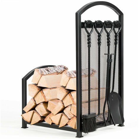 COSTWAY Fireplace Log Rack with Tong, Brush, Shovel and Poker, Iron Fireside Companion Set Firewood Storage Log Holder for Indoor Outdoor
