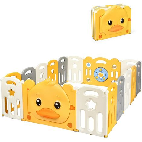 COSTWAY Foldable Baby Playpen, Yellow Duck Pattern Safety Yard with Lockable Door, Non-Slip Rubber Bases & Rubber Suction Cups, Portable Activity Center for Babies Toddlers (16 Panels)