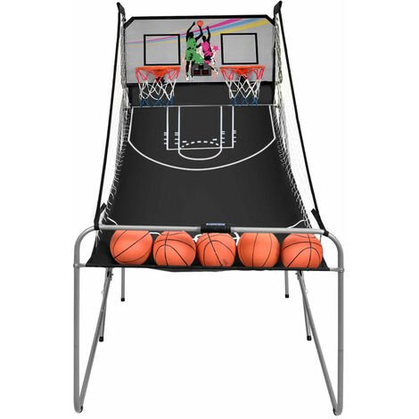 COSTWAY Foldable Basketball Arcade Game, Electronic 2 Player Shot with 8 Options, 4 Balls and LED Scoring System, Indoor Basketball Hoop Game for Kids, Adult