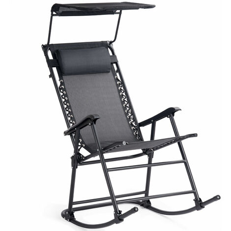 COSTWAY Foldable Rocking Chair with Adjustable Canopy, Outdoor Indoor Metal Frame Sunshade Rocker Chairs, Home Garden Patio Yard Reclining Sun Lounger (Black)