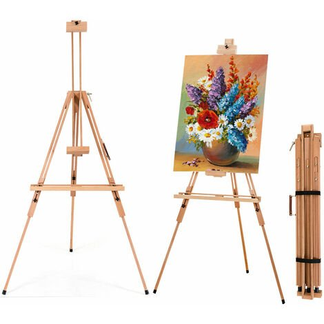"""main image of """"COSTWAY Foldable Tripod Easel, Beech Wood Studio Easels with Storage Tray, Adjustable Height and Angle, Floor Painting Stand Holds Canvas up to 78cm"""""""
