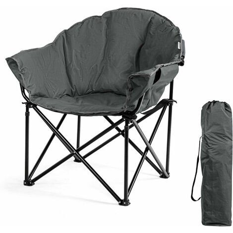 """main image of """"COSTWAY Folding Camping Chair , Lightweight Portable Leisure Padded Seat, Garden Seaside Travel Fishing Picnic Chairs Grey"""""""