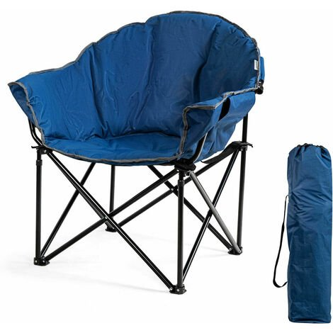 """main image of """"COSTWAY Folding Camping Chair , Lightweight Portable Leisure Padded Seat, Garden Seaside Travel Fishing Picnic Chairs Navy Blue"""""""