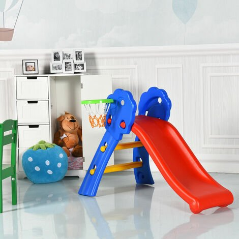 Costway Folding Kids Climber First Slide Indoor Outdoor Toddler Play W/ Basketball Hoop