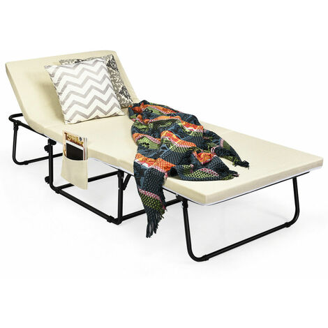 COSTWAY Folding Lounge Chair Convertible Spong Sofa Bed Sleeper 6 Position Adjustable