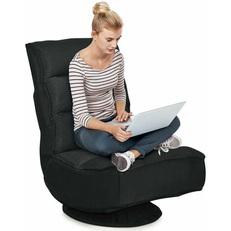 COSTWAY Folding Sofa Chair, 360 Degree Swivel 5-Position Adjustable Lazy High-Back Seater with Removable Base Cover, Home Office Living Room Study Furniture Reclining Lounge Chairs (Black)