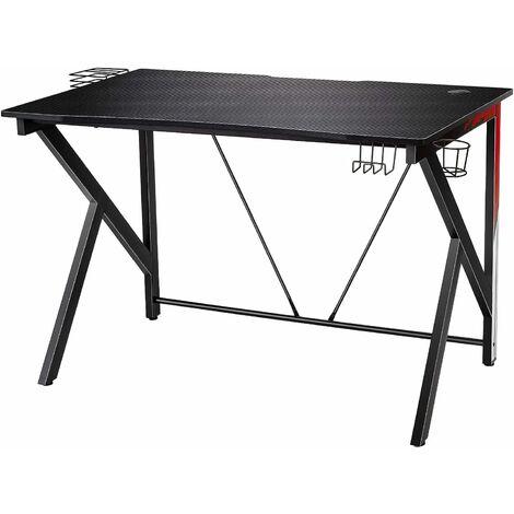 COSTWAY Gaming Tisch K-foermiger Computertisch PC Tisch Schreibtisch mit Getraenkehalter, Kopfhoerer Haken und Videoablage 115x73cm