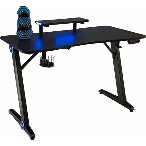 COSTWAY Gaming Tisch mit LED-Lichtern, Computertisch Z-foermig, PC Tisch mit Monitorstaender, Schreibtisch fuer Zuhause oder Buero, mit Getraenkehalter, Griffrahmen, Kopfhoererhaken