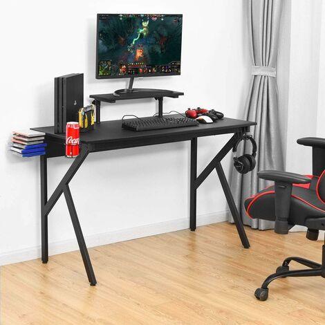 COSTWAY Gaming Tisch schwarz, Computertisch ergonomisch, Schreibtisch mit Monitorablage, Spielehalterung, Becher- und Kopfhoererhalterung