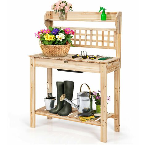 """main image of """"COSTWAY Garden Potting Table, Wooden Planting Bench with Trellis, Removable Sink, Sliding Tabletop and Shelves, Flower Plant DIY Workstation for Patios, Courtyards, Balcony"""""""