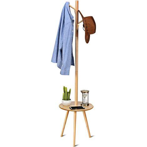 COSTWAY Garderobenstaender Holz, Jackenstaender Kleiderstaender Garderobe, mit Ablage, mit Haken Modell 1(40x40x161,5cm)