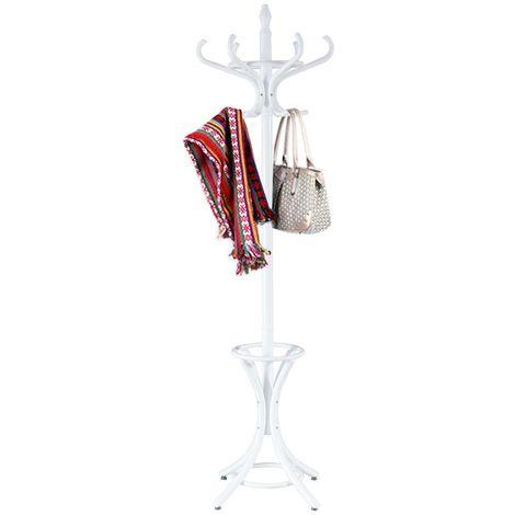 COSTWAY Garderobenstaender Kleiderstaender Jackenstaender mit Schirmstaender Garderobe Aufhaenger 12 Kleiderhaken 184 cm Farbewahl Holz weiss