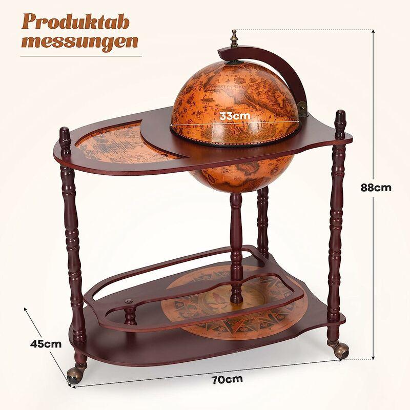 COSTWAY Globusbar Minibar Weltkugel Weinregal Flaschenregal Globus Bar Hausbar Mit Tischplatte Und Rollen