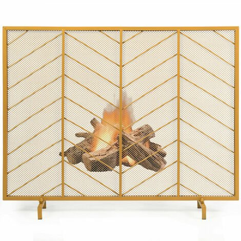 COSTWAY Golden Single Panel Fireplace Screen Decorative Mesh Spark Guard Freestanding