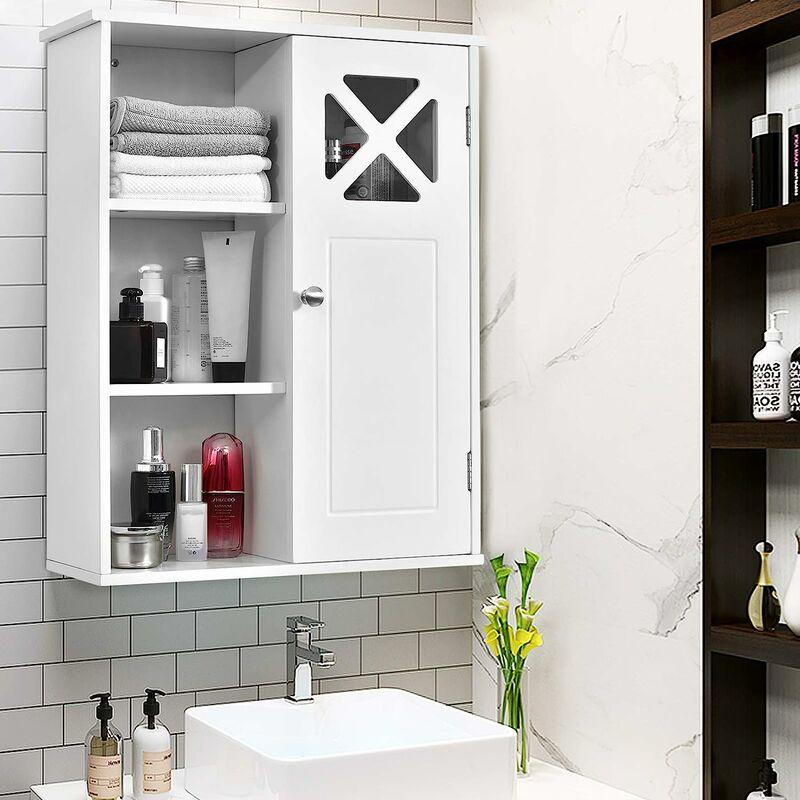 COSTWAY Haengeschrank aus Holz, Badezimmerschrank haengend, Wandschrank  weiss, Badschrank mit verstellbarem Einlegeboden, Badezimmer Schrank 1  tuerig, ...