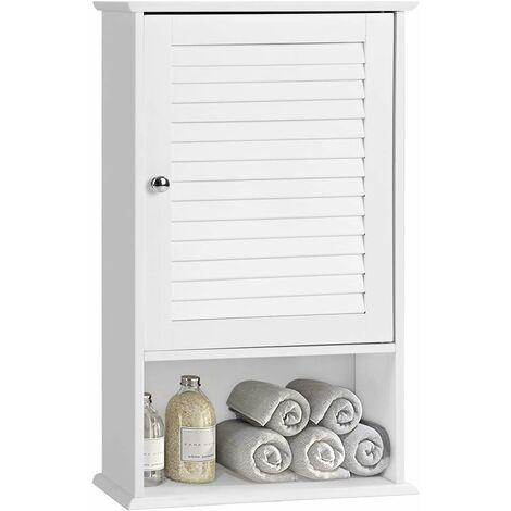 COSTWAY Haengeschrank, Badezimmerschrank haengend, Wandschrank weiss, Badschrank mit verstellbarem Einlegeboden, Badezimmer Schrank, Badhaengeschrank