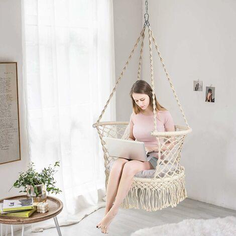 COSTWAY Hamac Chaise Balançoire Macramé, Siège Suspendu en Corde de Coton avec Franges Romantiques, Capacité de 160kg