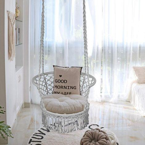 COSTWAY Hamac Chaise Suspendu Balan?oire,1 Place,en Coton,Intérieur Extérieur pour Jardin Loisirs Patio Camping Gris