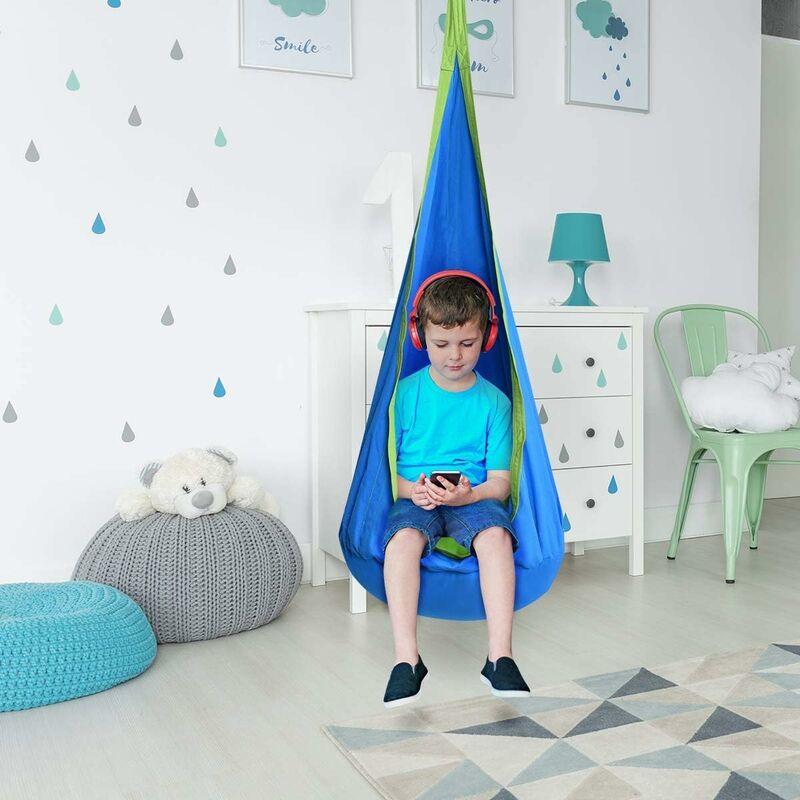 Hamac Enfant Chaise Siège Suspendu Balancoire en Coton pour Enfant Bébé Gonflable 80kg Max Bleu - Costway