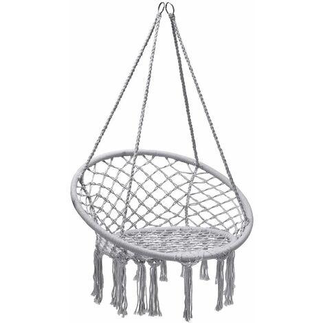 COSTWAY Hamac Suspendue, Fauteuil Relax. Chaise de Jardin1 Place Capacité 150KG en Coton avec des Franges Romantiques pour Balcon