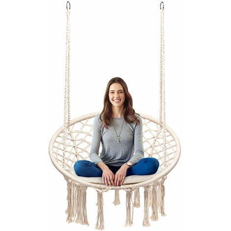 Costway Hammock Swing Chair Hanging Rope Seat Net Chair Garden Macrame Swing w/Cushion