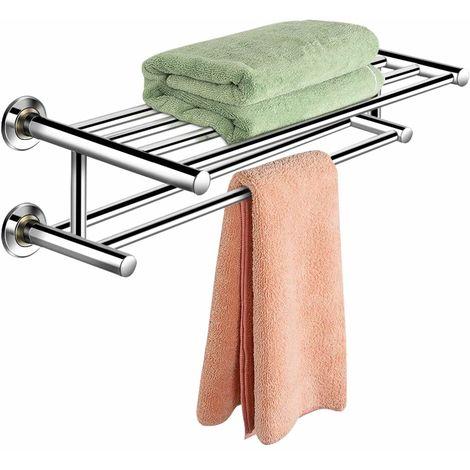 COSTWAY Handtuchablage Handtuchstange Handtuchhalter Badetuchstange Handtuchstaender Badregal Wandregal 2 Ablagen Edelstahl