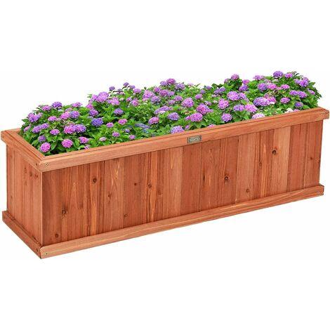 COSTWAY Jardinière en Bois Rectangulaire 102 x 31 x 30 cm Bac à Fleurs/ Légumes avec Garde-corps Jardin Balcon Charge 10KG Marron