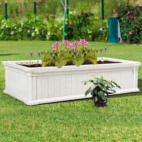 COSTWAY Jardinière en Plastique Bac à Plantes Rectangulaire pour Légumes et Fleurs, Bac à Fleur Pousse pour Jardin, Facile et Rapide à Assembler avec Clous de Sol 122X60X30CM (Blanc)