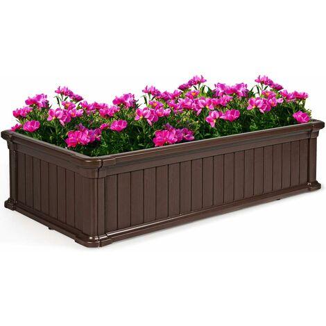 COSTWAY Jardinière en Plastique Bac à Plantes Rectangulaire pour Légumes et Fleurs, Bac à Fleur Pousse pour Jardin, Facile et Rapide à Assembler avec Clous de Sol 122X60X30CM (Marron)
