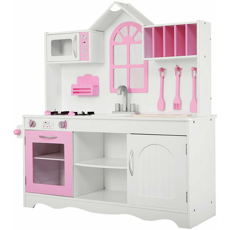 COSTWAY Kids Play Kitchen Set, Classic Wooden Pretend Cooking Food Set with Cookware Accessories, Stoves, Oven, Sink, Large Storage Children's Role Play for Girls Boys