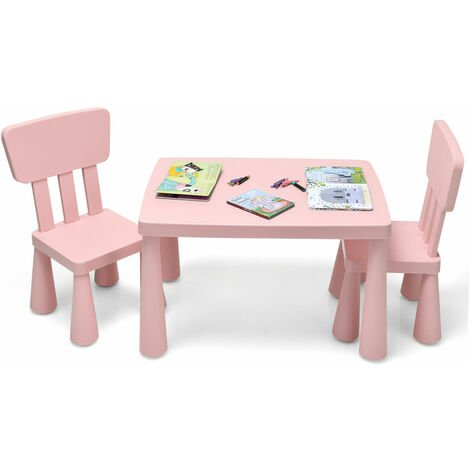 """main image of """"COSTWAY Kids Play Table and Chair Set Children Multi Activity Desk Chair Furniture Pink"""""""