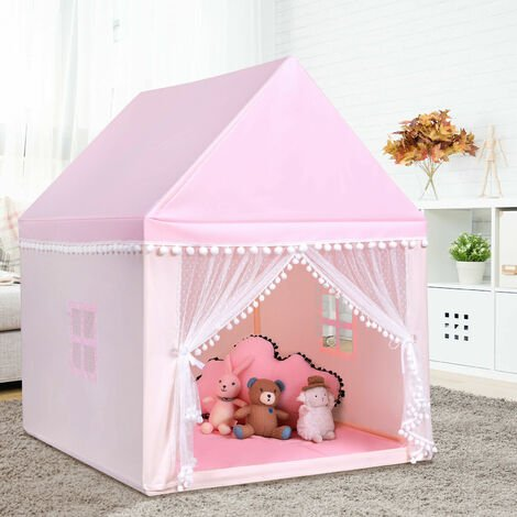 """main image of """"Costway Kids Play Tent Wood Frame Large Playhouse Castle Fairy Tents With Mat Pink"""""""