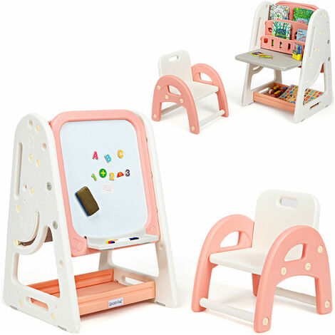 COSTWAY Kids Table and Chair Set, 2 in 1 Child Furniture with Magnetic Board, Foldable Desktop and Book Rack, Height Adjustable Standing Easel for Boys Girls
