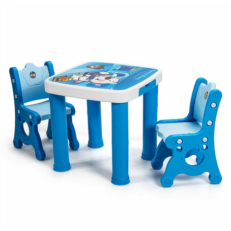 Costway Kids Table & Chair Set Children Toddler Activity Study Play Height Adjustable
