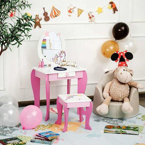 COSTWAY Kinder Schminktisch mit Hocker, Prinzessin Frisiertisch mit Schublade und Abnehmbarer Spiegel, Frisierkommode rosa, Schminkkommode fuer Maedchen von 3-7 Jahren