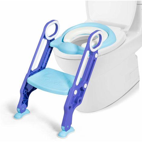 COSTWAY Kinder Toilettensitz h?henverstellbar, Kindertoilette faltbar, Toilettentrainer mit Leiter und Griffe, T?pfchentrainer zum Toilettentraining für Kleinkinder von 1 bis 5 Jahre (Blau + Lila)