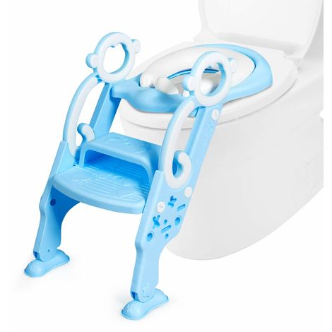 COSTWAY Kinder Toilettensitz h?henverstellbar, Kindertoilette faltbar, Toilettentrainer mit Leiter und Griffe, T?pfchentrainer zum Toilettentraining für Kleinkinder von 1 bis 8 Jahre (Blau)