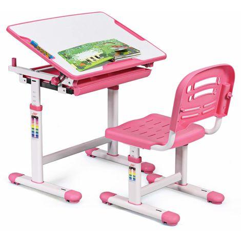 COSTWAY Kinderschreibtisch hoehenverstellbar, Schuelerschreibtisch Kindermoebel neigungsverstellbar, Kindertisch mit Stuhl, Schreibtisch Kinder