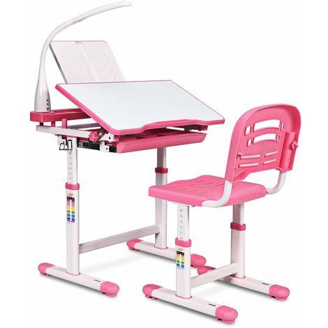 COSTWAY Kinderschreibtisch hoehenverstellbar, Schuelerschreibtisch mit Lampe, Kindermoebel neigungsverstellbar, Kindertisch mit Stuhl, Schreibtisch mit Schublade