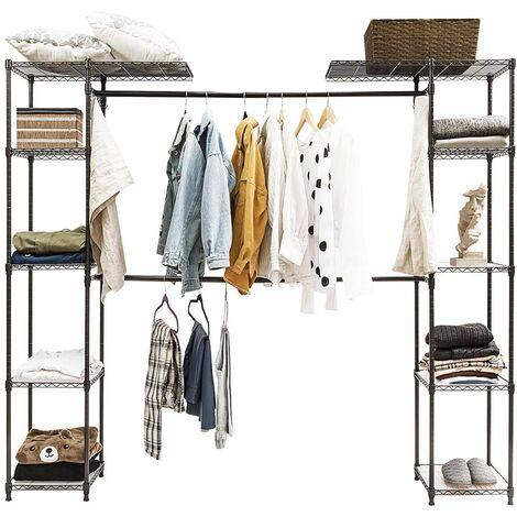COSTWAY Kleiderstaender mit Ablagen, Garderobenstaender Metall, Haengeregal Kleider, Waeschestaender ausziehbar, Kleiderschrank mit Kleiderstange