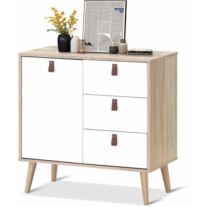 COSTWAY Konsolenschrank mit verstellbarem Regal, Sideboard mit 3 Schubladen, Beistellschrank Kommode Mehrzweckmoebel