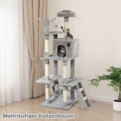 COSTWAY Kratzbaum Katzenkratzbaum Katzenbaum Kletterbaum Spielbaum Kratzm?bel Kratzstaemme Hoehle Spielbaelle 155cm hoch